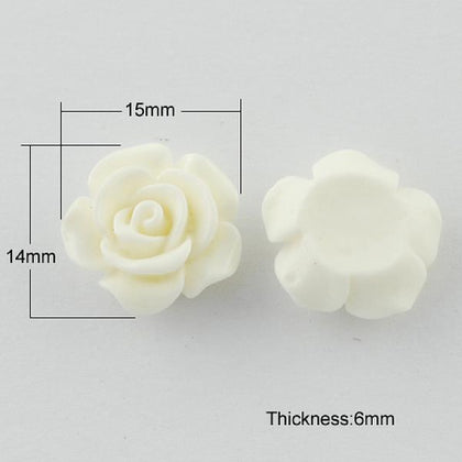 20mm White Flower Resin Cabochons 10/pk