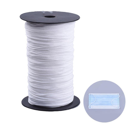 2mm Round White Elastic - Price Per Yard