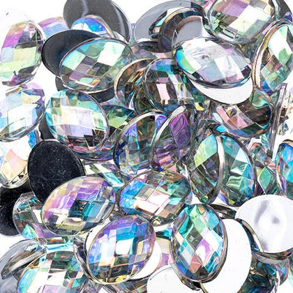 Flat Back Rhinestones Oval 10x14mm Crystal AB 200/pk