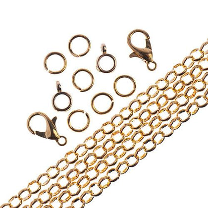 Chain & Findings Set Rolo Chain 4mm Gold 36