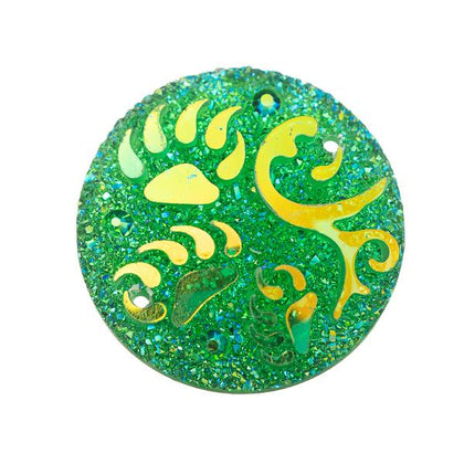 25mm Round Green Totem Resin Cabochons 10/pk