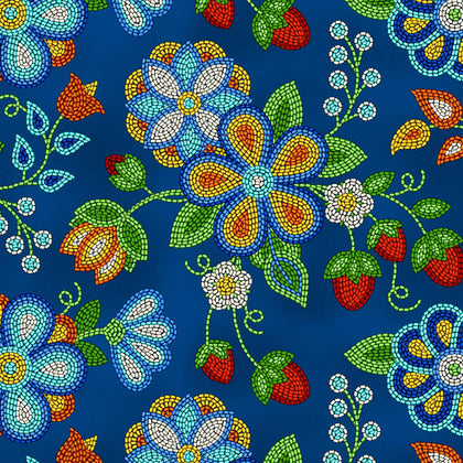 Beaded Strawberry Royal Blue 100% Cotton  - Price Per Yard