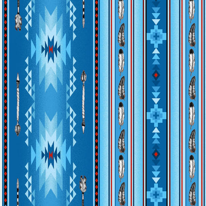 Arrows & Feathers Blue 100% Cotton - Price Per Yard