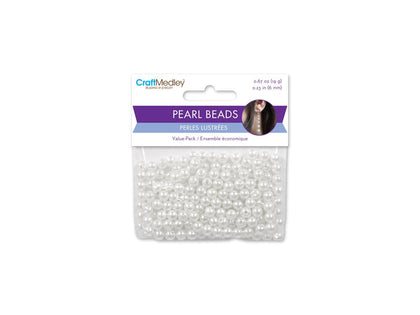 6mm Craft Pearls White 185/pk