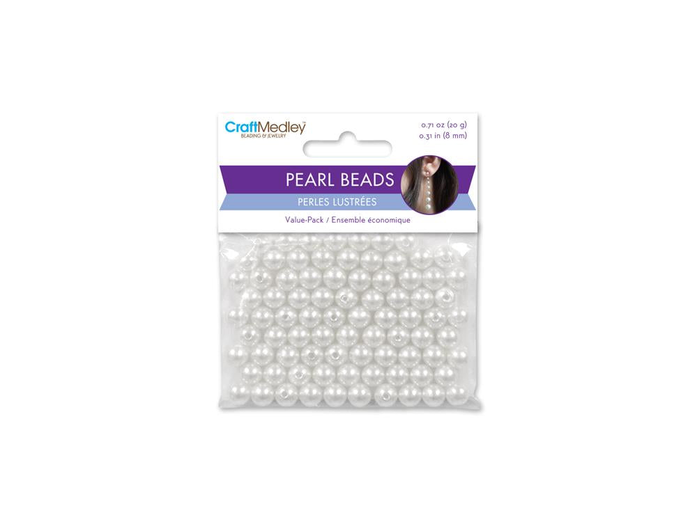 8mm Craft Pearls White 80/pk