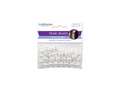 10mm Craft Pearls White 40/pk