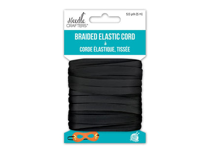 6mm Flat Black Elastic 5.5yd