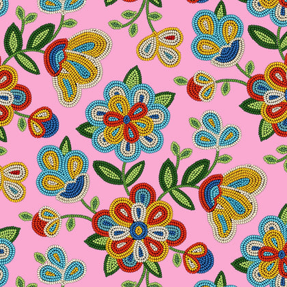 Beaded Floral Pink 100% Cotton - Price Per Yard
