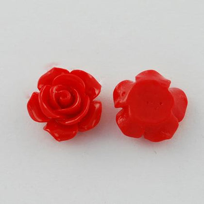 15mm Red Flower Resin Cabochons 10/pk
