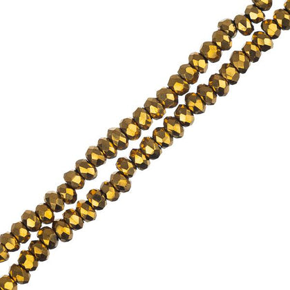Crystal Lane Rondelle 1.5x2.5mm Opaque Gold Iris 246/Strand