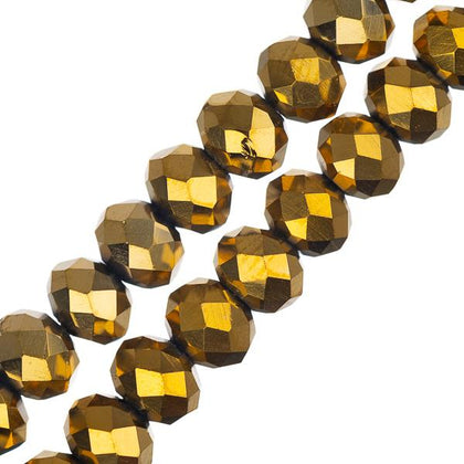 Crystal Lane Rondelle 4x6mm Opaque Gold Iris 78/Strand