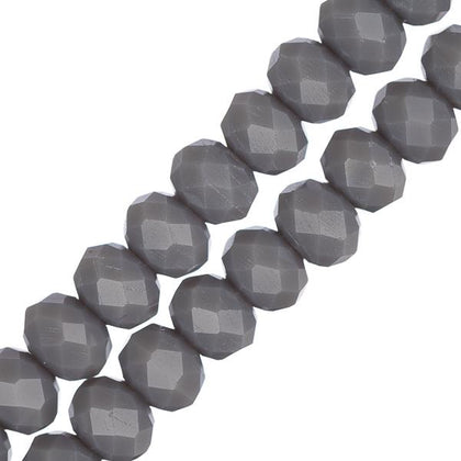 Crystal Lane Rondelle 4x6mm Opaque Grey 78/Strand