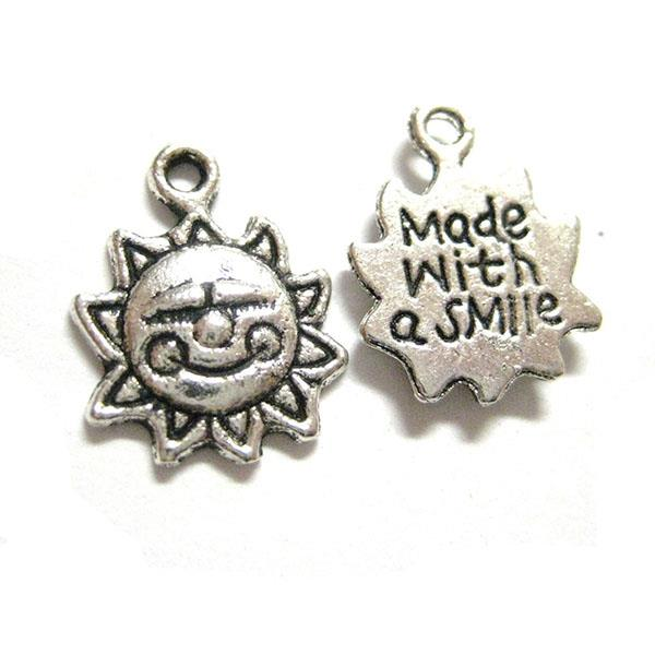 "1/2"" Made With A Smile Sun Charm 25/pk"