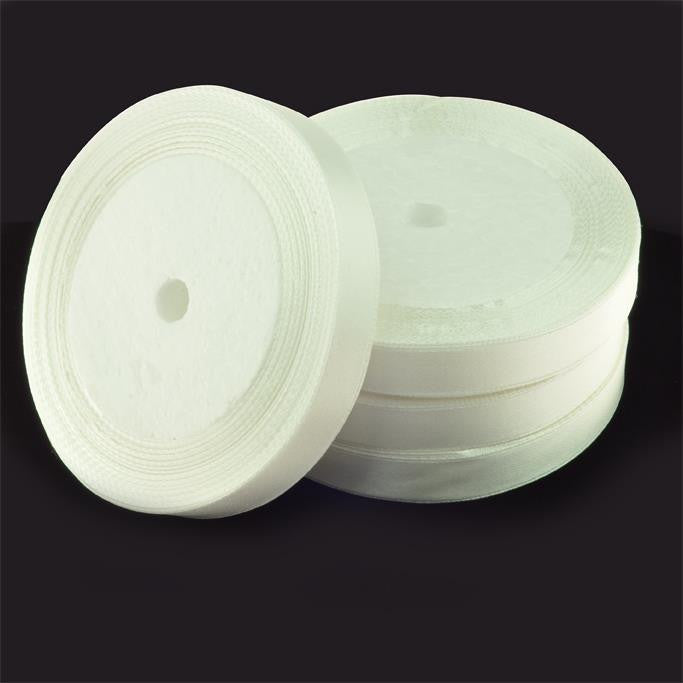 12mm Satin Ribbon White 25yd