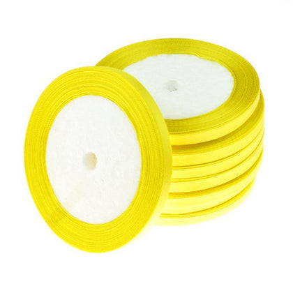 6mm Satin Ribbon Yellow 25yd