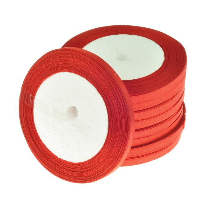 6mm Satin Ribbon Red 25yd