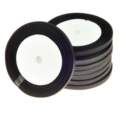 6mm Satin Ribbon Black 25yd