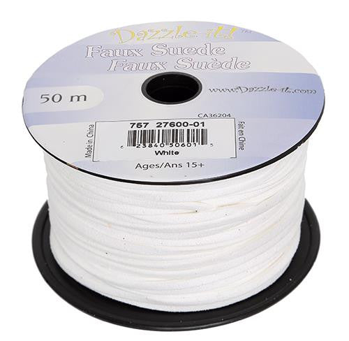 Faux Suede White Lacing 50m