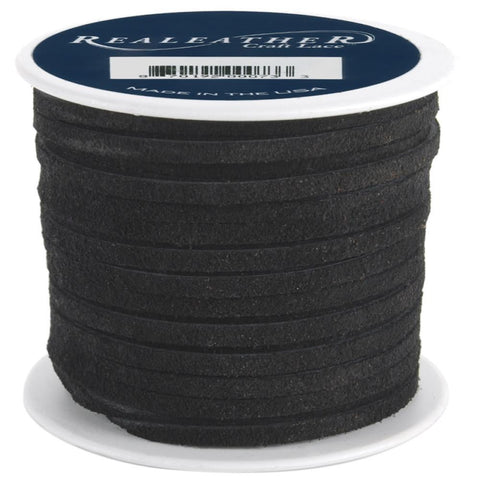 "1/8"" Black Suede Lacing 25yd - i-Bead,  BLACK"