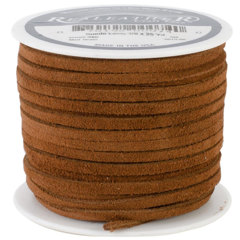 "1/8"" Medium Brown Suede Lacing 25yd"