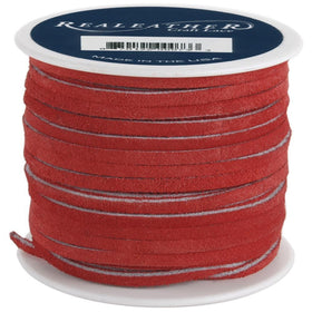 "1/8"" Red Suede Lacing 25yd - i-Bead,  RED"