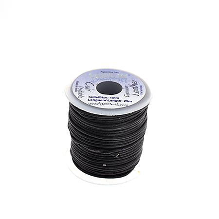 1mm Black Leather Cord 25m