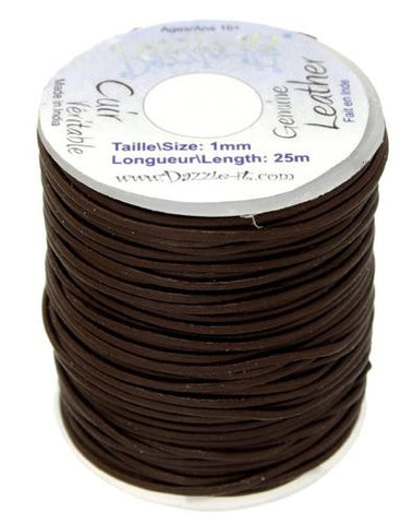 1mm Brown Leather Cord 25m