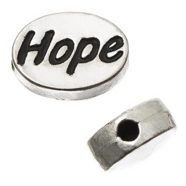 "Antique Silver Oval 8x11mm ""Hope"" Metal Bead Each"