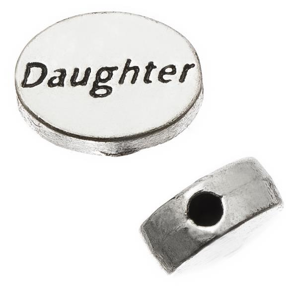 "Antique Silver Oval 8x11mm ""Daughter"" Metal Bead Each"