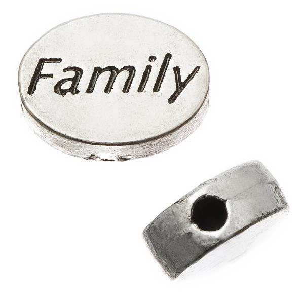 "Antique Silver Oval 8x11mm ""Family"" Metal Bead Each"