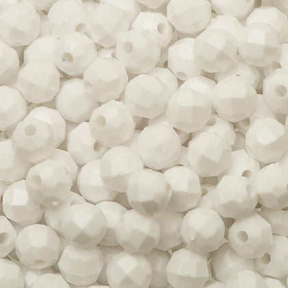 6mm Plastic Facetted Beads 1000/pk - White