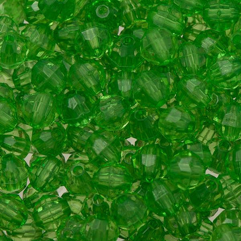 6mm Plastic Facetted Beads 1000/pk - Christmas Green