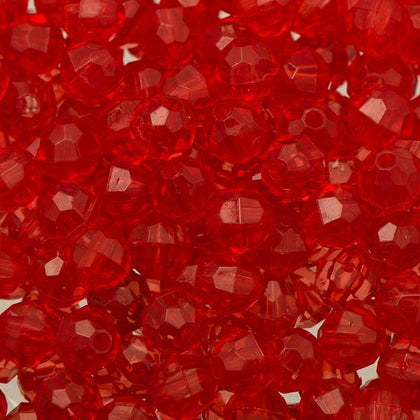 6mm Plastic Facetted Beads 1000/pk - Raspberry