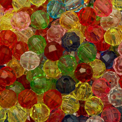 6mm Plastic Facetted Beads 1000/pk - Multi