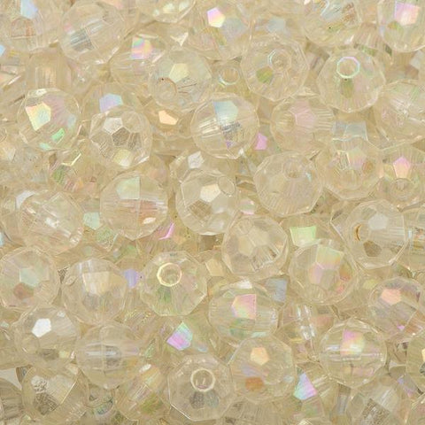 6mm Plastic Facetted Beads 1000/pk - Crystal AB