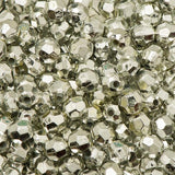 6mm Plastic Facetted Beads 1000/pk - Metallic Silver