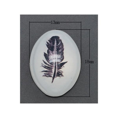 13x18mm Glass Feather Cabochon 2/pk - i-Bead,  CABOCHONS