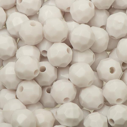 8mm Plastic Facetted Beads 1000/pk - White