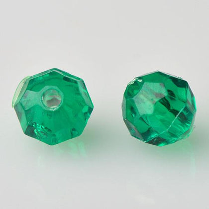 8mm Plastic Facetted Beads 1000/pk - Xmas Green