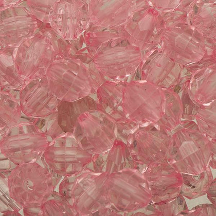8mm Plastic Facetted Beads 1000/pk - Pink