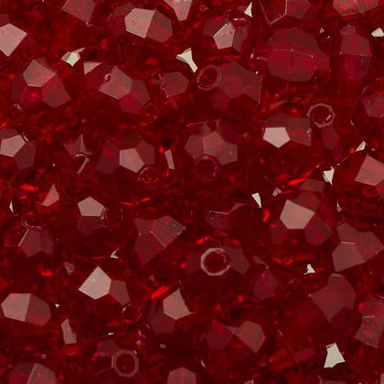 8mm Plastic Facetted Beads 1000/pk - Ruby