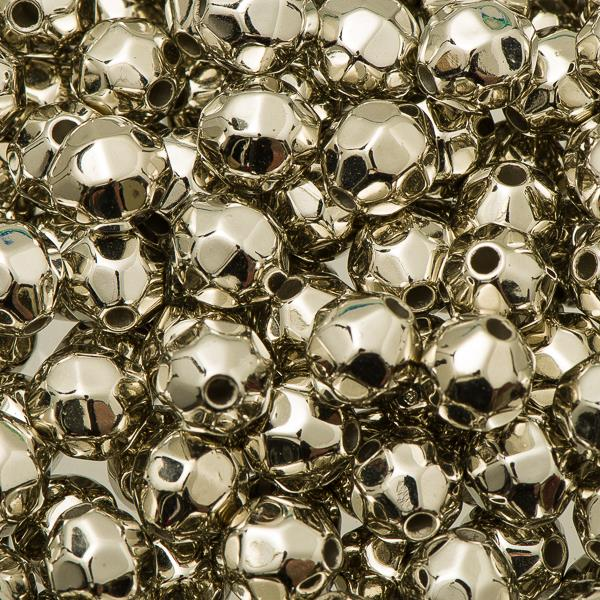 8mm Plastic Facetted Beads 1000/pk - Metallic Silver