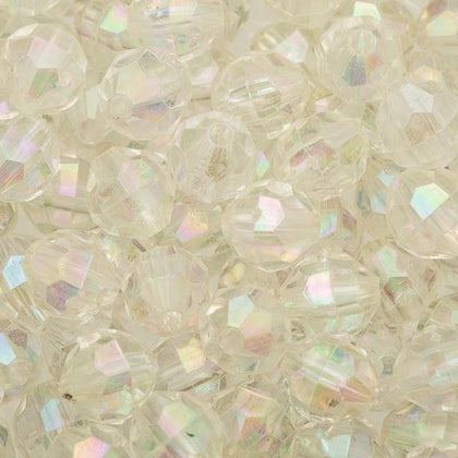 8mm Plastic Facetted Beads 1000/pk - Crystal AB