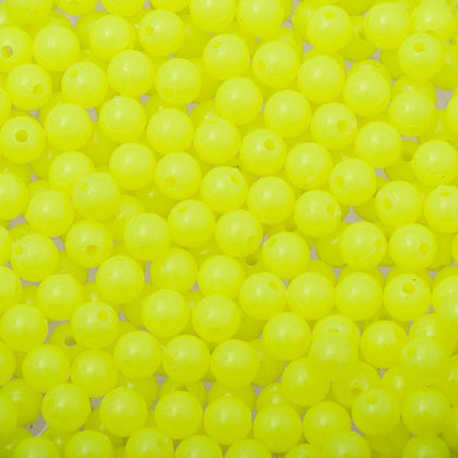 6mm Round Plastic Beads - Fluorescent Yellow