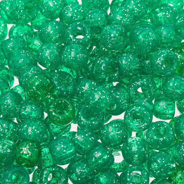 Pony Beads 100/pk - Emerald Sparkle