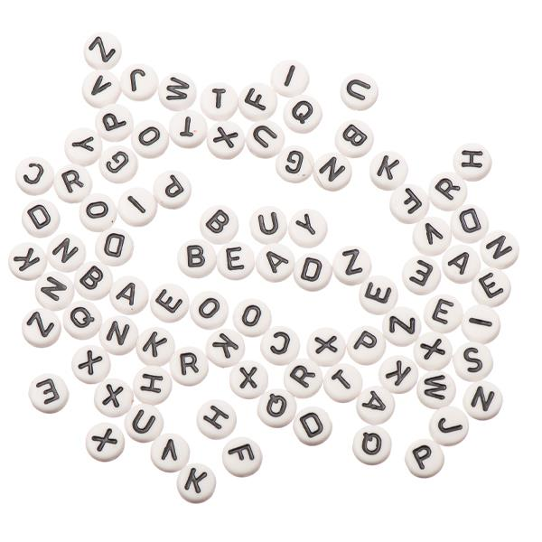 7mm Flat Round Assorted Alphabet Beads 90/Pk