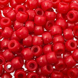 9mm Plastic Pony Beads 1000/pk - Red