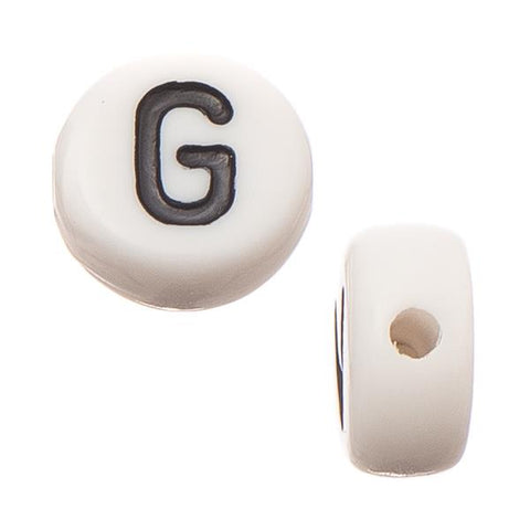 "6mm Flat Round Letter ""G"" Beads 10/pk"