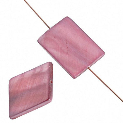 20mm Rectangular Shell Beads Rose