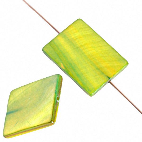 20mm Rectangular Shell Beads Lime Green